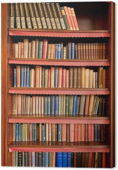 Obraz na Płótnie Stary regał z rzędami książek w starożytnej bibliotece