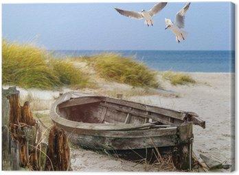 Starych łodzi rybackich, mewy, plaża i morze