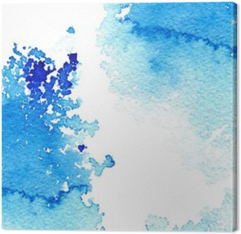 Obraz na Płótnie Streszczenie ciemny niebieski wodniste frame.Aquatic backdrop.Ink drawing.Watercolor ręcznie rysowane image.Wet splash.White tło.