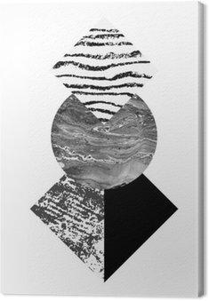 Obraz na Płótnie Streszczenie geometrii kształtów z akwarelą i grunge tekstury