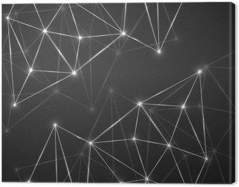Obraz na Płótnie Streszczenie geometryczne tło z kropek i linii łączących. Nowoczesna technologia koncepcji. Łamana konstrukcja
