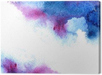 Obraz na Płótnie Streszczenie niebieski i fioletowy wodniste frame.Aquatic backdrop.Hand rysowane Akwarele stain.Cerulean powitalny.