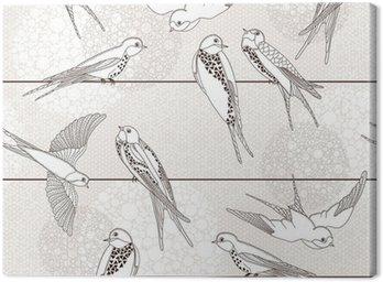 Obraz na Płótnie Streszczenie powtarzalne. Ptak na drutach.