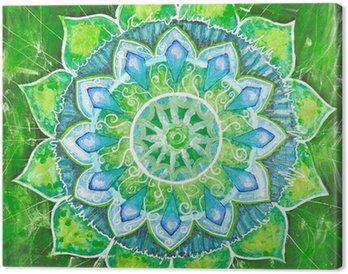 Obraz na Płótnie Streszczenie zielony namalowany obraz z okręgu deseń, mandala