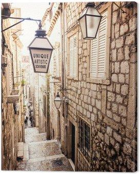 Obraz na Płótnie Strome schody i wąska uliczka na Starym Mieście w Dubrowniku