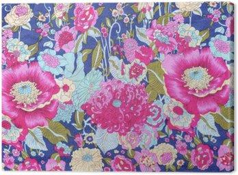 Obraz na Płótnie Styl vintage Tkaniny kwiatów wzór tkaniny tle