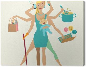 Obraz na Płótnie Super matka z noworodkiem - sprzątanie, zakupy, rozmowy przez