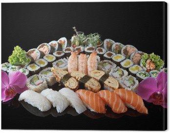 Obraz na Płótnie Sushi ustawić na czarnym tle