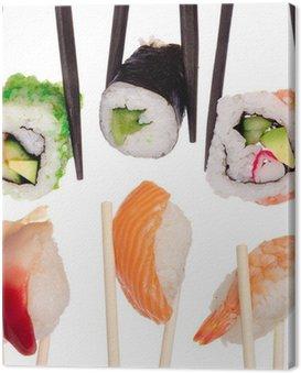 Obraz na Płótnie Sushi z pałeczki samodzielnie nad białym tle