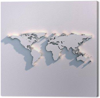 Obraz na Płótnie Światowa mapa rzeźby na ścianie