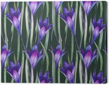 Obraz na Płótnie Świeże dzikie kwiaty, trawa. Wzorzec, akwarela.