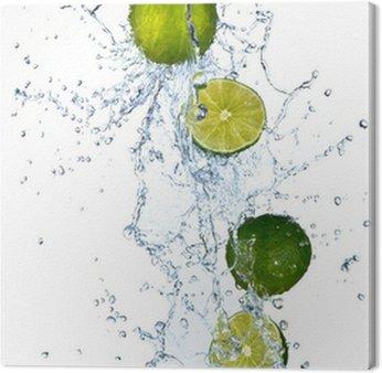 Obraz na Płótnie Świeże limonki z plusk wody, na białym tle