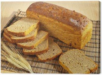 Obraz na Płótnie Świeżo upieczony chleb z soi i pszenicy na tabeli