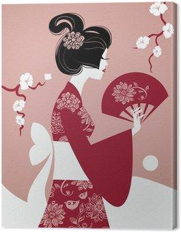 Obraz na Płótnie Sylwetka dziewczyny japoński