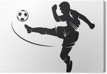 Obraz na Płótnie Sylwetka piłkarz pokonując na piłkę