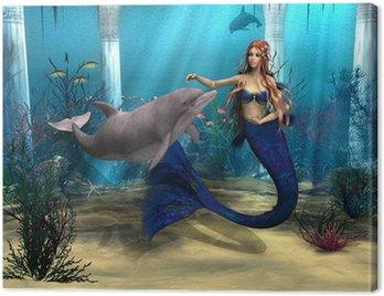 Obraz na Płótnie Syrenka i Delfin