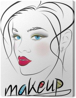 Obraz na Płótnie Szkic pięknej twarzy kobiety. ilustracji wektorowych
