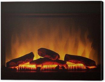 Obraz na Płótnie Sztuczne zbliżenie kominkiem elektrycznym pożaru wewnątrz pomarańczowy