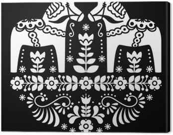 Obraz na Płótnie Szwedzki Dala lub Daleclarian koń kwiatowy wzór folk na czarnym