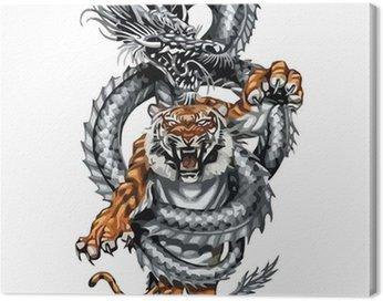 Obraz na Płótnie Tatuaż smoka z tygrysem skręcać plemiennych, wektor