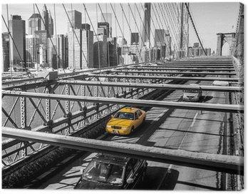 Obraz na Płótnie Taxi cab przekroczeniu mostu Brooklynie w Nowym Jorku