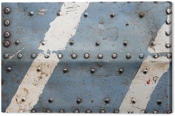 Obraz na Płótnie Tekstury metalu z nitami, kadłub samolotu