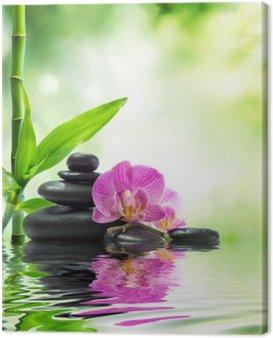 Obraz na Płótnie Tło spa - storczyki czarne kamienie i bambusa na wodzie