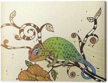 Obraz na Płótnie Tło wektor z kameleon i kwiat pustyni