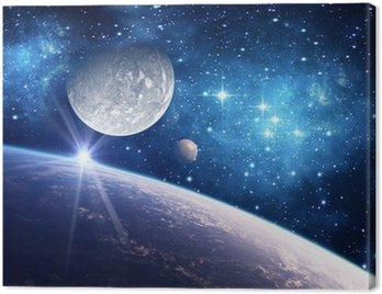Obraz na Płótnie Tło z planety, księżyc i gwiazdy