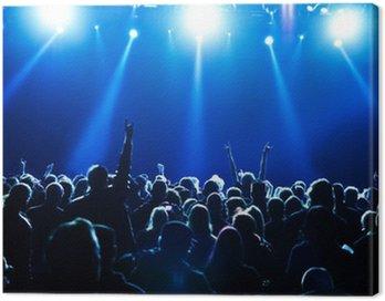 Obraz na Płótnie Tłum koncert przed jasnych niebieskich świateł scenicznych