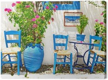 Obraz na Płótnie Tradycyjna Grecja series - mała ulica tawern