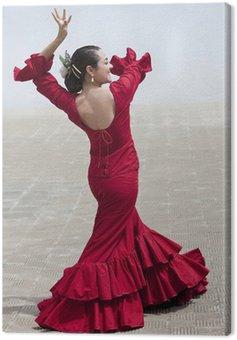 Obraz na Płótnie Tradycyjna hiszpańska tancerka flamenco kobieta w czerwonej sukience