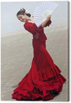Obraz na Płótnie Tradycyjna hiszpańska tancerka flamenco kobieta w czerwonej sukni z wentylatorem