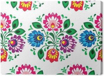 Obraz na Płótnie Tradycyjny kwiatowy wzór bez szwu z Polski na białym