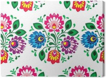 Tradycyjny kwiatowy wzór bez szwu z Polski na białym