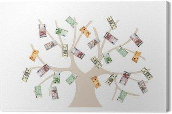 Obraz na Płótnie Tree-USD, euro i funt GB waluty pieniądze