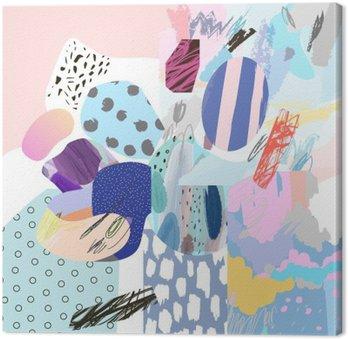 Obraz na Płótnie Trendy twórczy kolaż z różnych tekstur i kształtów. Nowoczesna szata graficzna. Niezwykłe dzieło. Wektor. Odosobniony