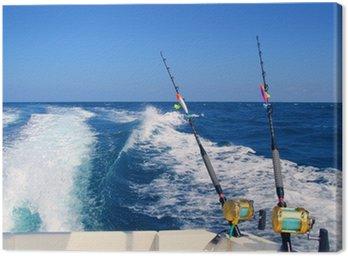 Obraz na Płótnie Trolling łodzi rybackich i pręt złoty morskie Kołowrotki