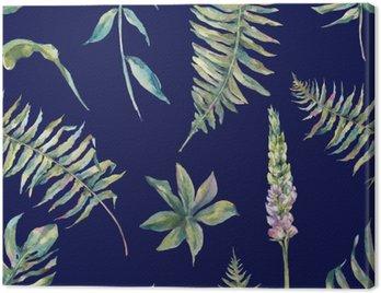 Obraz na Płótnie Tropical akwarela liści bez szwu wzór