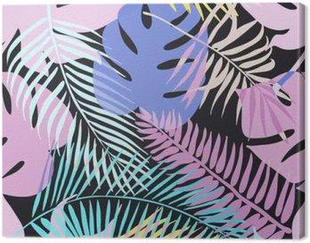 Obraz na Płótnie Tropical egzotyczne kwiaty i rośliny o zielonych liściach palmowych.