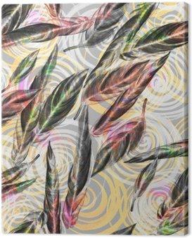Obraz na Płótnie Tropical liści szwu. Barwny liście egzotycznych Calathea WHITESTAR roślin na spiralnym wzorem geometrycznym, mieszane efekt. Druk tekstylny.