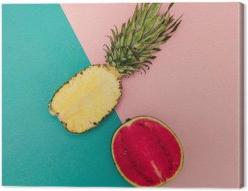 Obraz na Płótnie Tropical Mix. Ananas i arbuz. minimalne Style