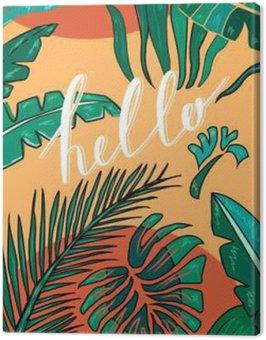"""Tropical ręcznie rysowane tła z napisem """"Hello"""". Tropic liści. Wektor"""