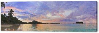 Obraz na Płótnie Tropikalna plaża Cote d'Or o zachodzie słońca, Seszele