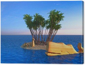 Obraz na Płótnie Tropikalna wyspa, wakacje, wrak, wieloryb, rysunek