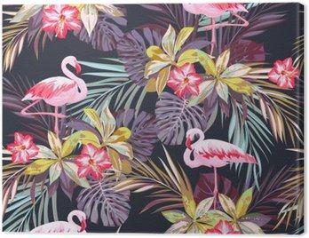Obraz na Płótnie Tropikalne lato szwu z ptaków Flamingo i egzotycznych roślin