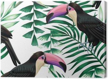 Obraz na Płótnie Tropikalny Tukan wzór