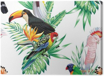 Obraz na Płótnie Tropikalnych ptaków i liści palmowych wzór