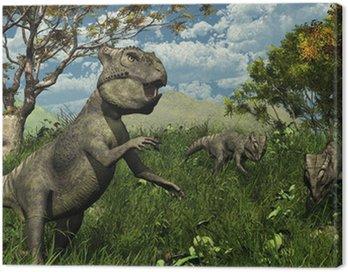 Trzy Archaeoceratops Dinosaurs Exploring - 3d render
