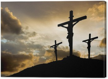 Obraz na Płótnie Trzy krzyże na zachodzie słońca